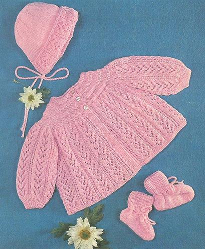 1220H baby matinee coat set vintage knitting pattern  PDF Download