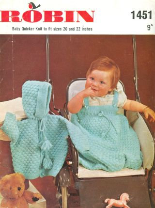 1451R baby sleeping bag set vintage knitting pattern  PDF Download