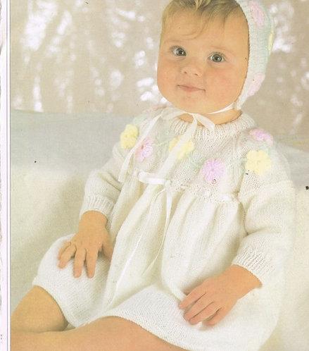 2871H baby dress vintage knitting pattern  PDF Download