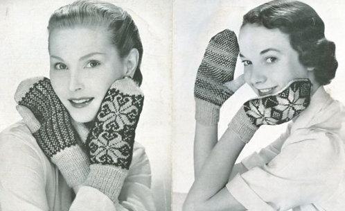 540P ladies fairisle mittens vintage knitting pattern  PDF Download