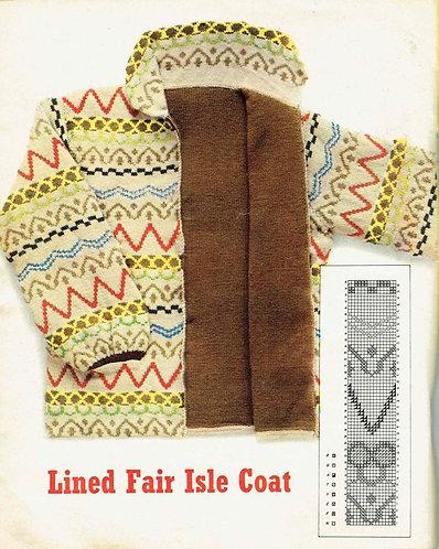 Ladies fairisle Coat vintage knitting pattern PDF Download PN108