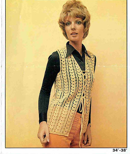1562 ladies waistcoat Vintage crochet pattern  PDF Download