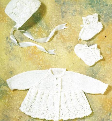 1130J baby matinee coat set vintage knitting pattern  PDF Download