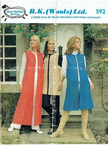 B K Wools 592 ladies vintage crochet pattern PDF