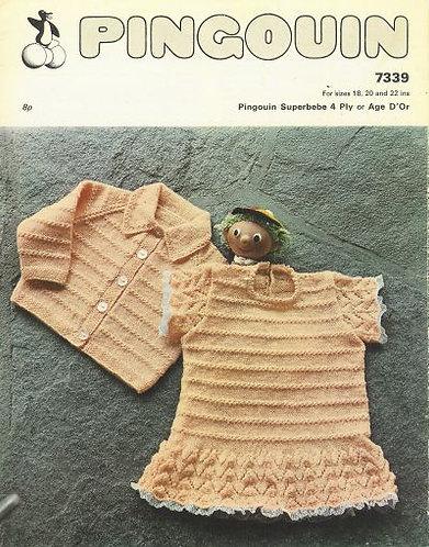 7339P baby dress set vintage knitting pattern  PDF Download