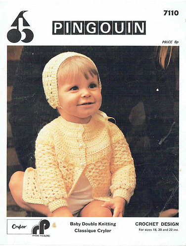 7110P baby matinee coat set vintage crochet pattern  PDF Download