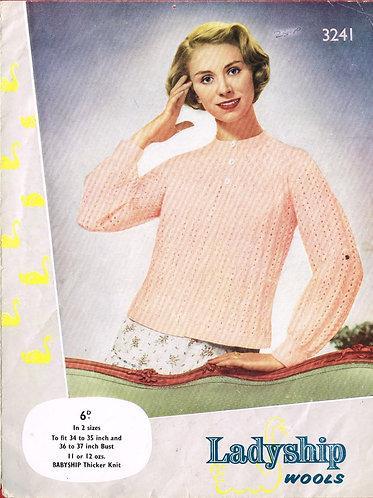 3241 Ladyship ladies bedjacket Vintage knitting pattern  PDF Download