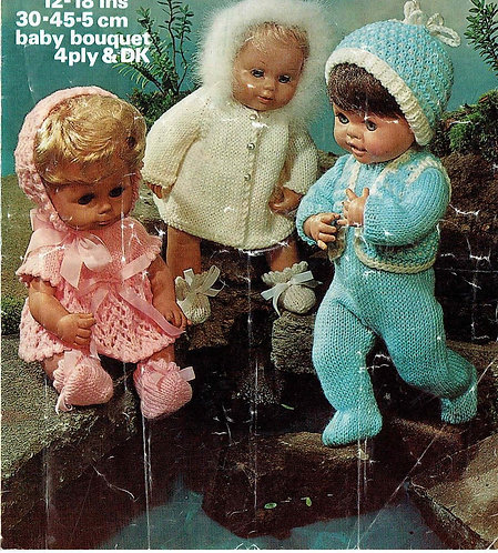 1927M dolls clothes vintage knitting pattern  PDF Download