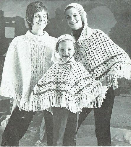 679Ar poncho vintage knitting crochet pattern PDF