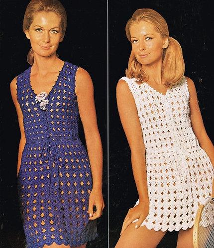 58T ladies dresses vintage crochet pattern  PDF Download