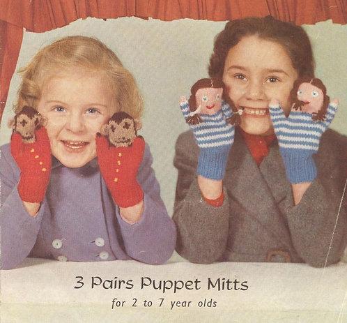 366P novelty mittens children vintage knitting pattern  PDF Download