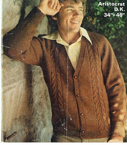 1606 mens cardigan Vintage knitting pattern  PDF Download