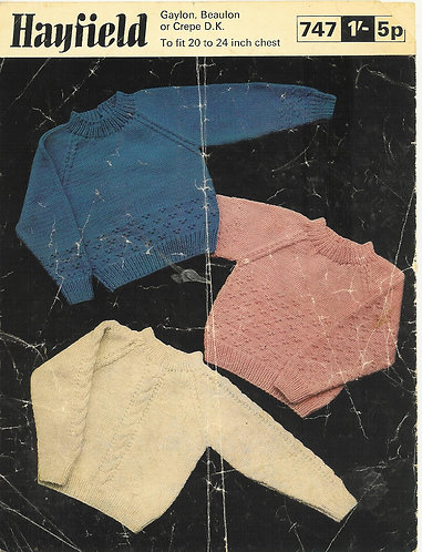 747H baby jumpers vintage knitting pattern  PDF Download