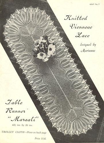 ANP7 viennese lace vintage knitting pattern PDF