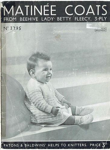 3295 baby matinee coat set vintage knitting pattern PDF Download