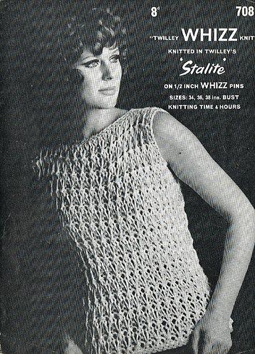 708T ladies summer top vintage knitting pattern  PDF Download