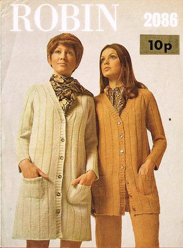 2086R ladies long line cardigan vintage knitting pattern  PDF Download