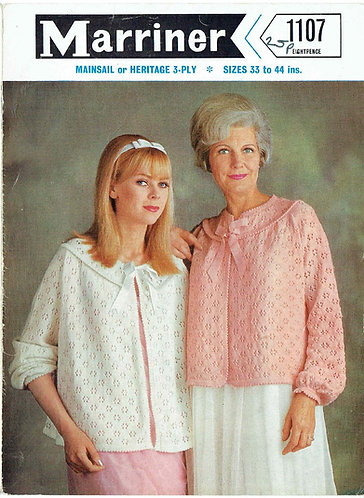 1107 ladies bedjackets Vintage knitting pattern  PDF Download