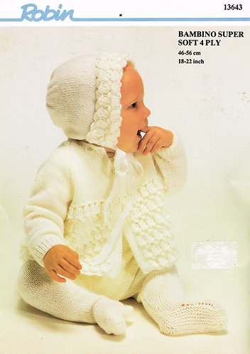 13643R baby pram suit vintage knitting pattern  PDF Download