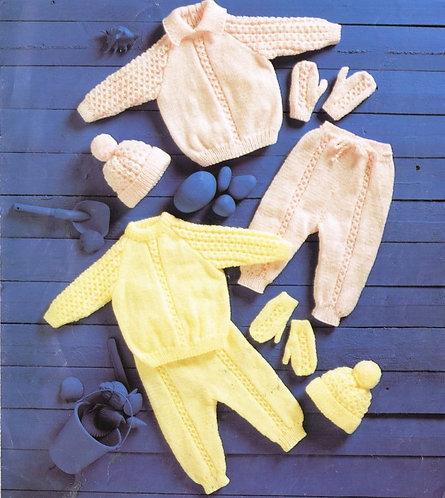 1097T baby pram suit vintage knitting pattern  PDF Download