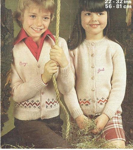 1642M childrens cardigan vintage knitting pattern  PDF Download