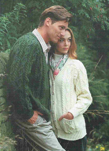 2036L ladies mens aran cardigan vintage knitting pattern  PDF Download