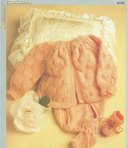 8749P baby matinee coat set vintage knitting pattern  PDF Download