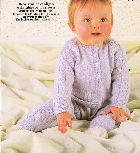 8329P baby cardigan set vintage knitting pattern  PDF Download