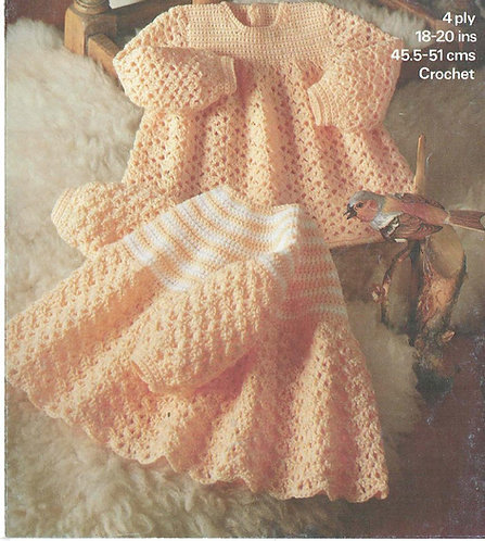 1845M baby dress vintage crochet pattern   PDF Download