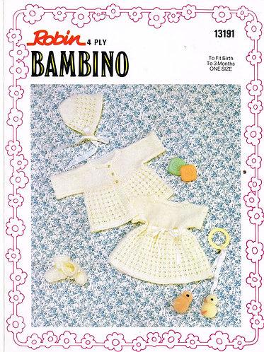 13191R baby matinee coat dress set vintage knitting pattern  PDF Download