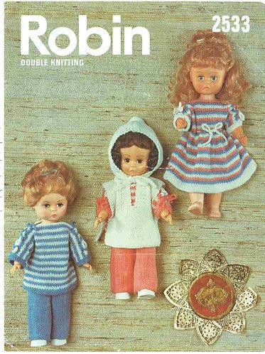 2533R dolls clothes vintage knitting pattern  PDF Download