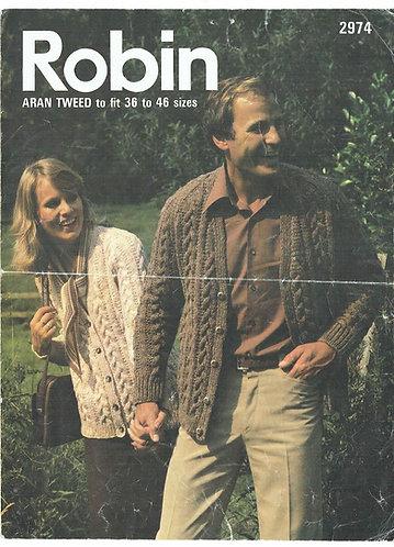 2974R ladies mens aran cardigan vintage knitting pattern  PDF Download