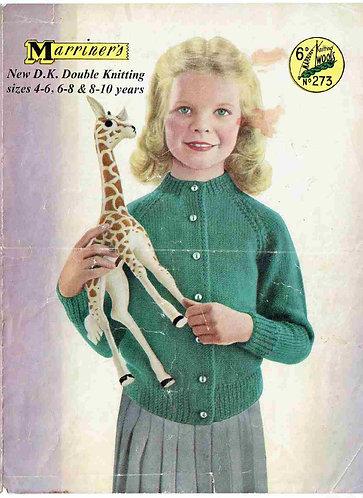 273M girls cardigan vintage knitting pattern  PDF Download