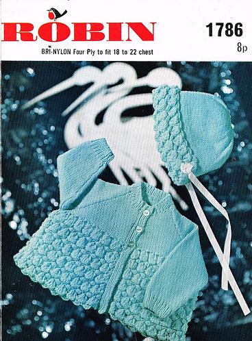 1786R baby matinee coat set vintage knitting pattern  PDF Download