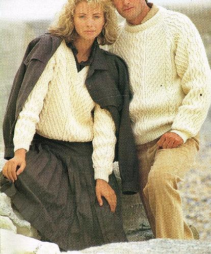 5180P ladies mens aran jumper Vintage knitting pattern  PDF Download