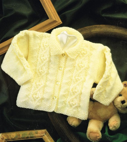 4437H baby cardigan vintage knitting pattern PDF Download