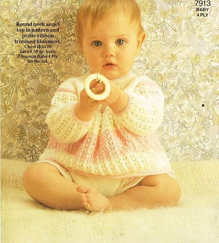 7913P baby dress set vintage knitting pattern  PDF Download