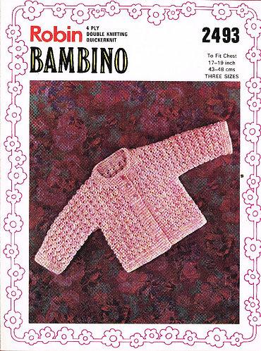 2493R baby matinee coat vintage knitting pattern  PDF Download