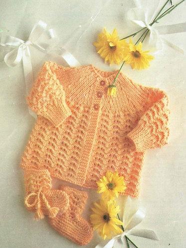 139K baby matinee coat set vintage knitting pattern  PDF Download