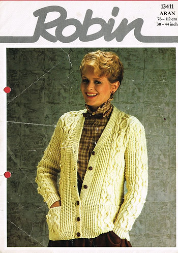 13411R ladies aran cardigan vintage knitting pattern  PDF Download