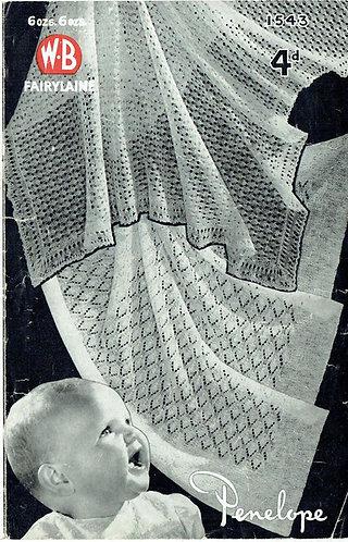 1543 baby shawl vintage knitting pattern PDF Download