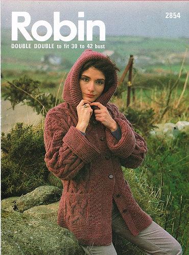2854R ladies chunky cardigan hoodie vintage knitting pattern  PDF Download