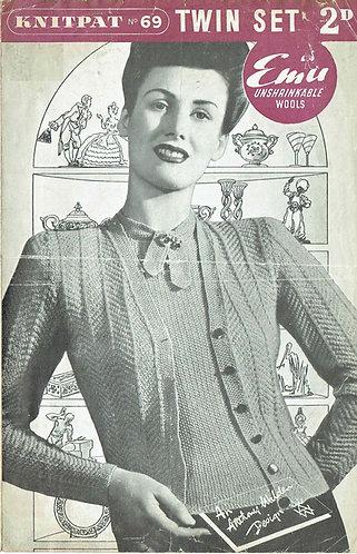 Knitpat 69 ladies twinset vintage knitting pattern PDF Download