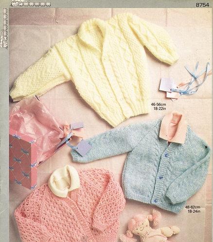 8754P baby cardigan vintage knitting pattern  PDF Download