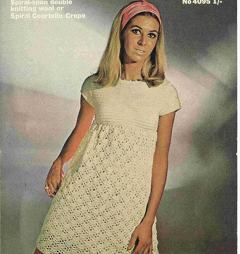 4095 ladies dress Vintage crochet pattern  PDF Download