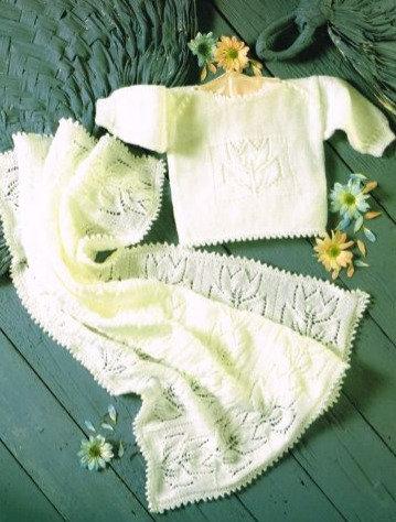 4358H baby jumper and blanket vintage knitting pattern  PDF Download