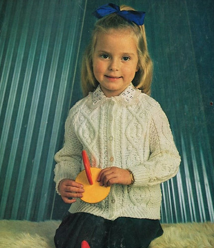 1224H girls cardigan vintage knitting pattern  PDF Download