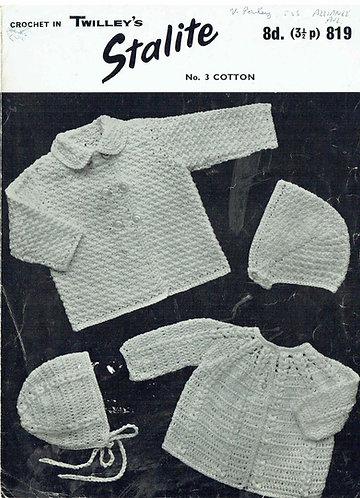 819T baby matinee coats vintage crochet pattern  PDF Download