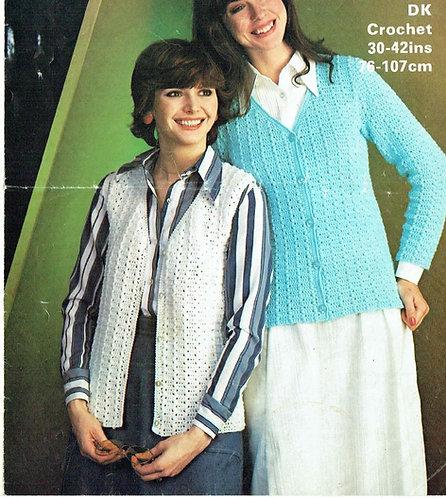 1705 ladies waistcoat and cardigan Vintage crochet pattern  PDF Download