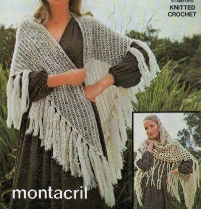 6100T ladies shawl vintage crochet pattern  PDF Download